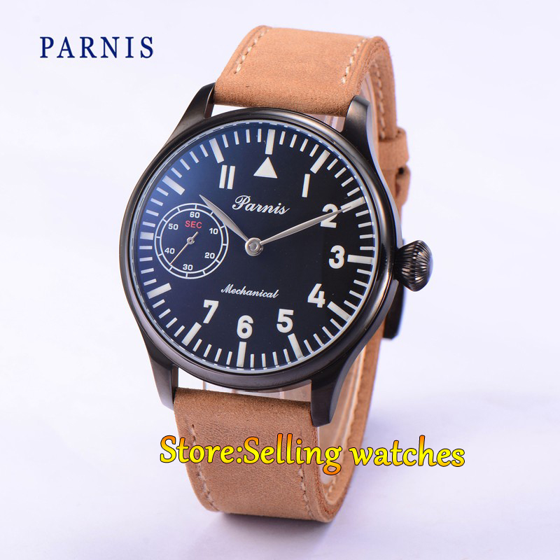 44mm Parnis Hand Winding 6497 Mechanical Black Dial PVD Case Men's Watch цена