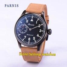 44mm Parnis Mano Sinuoso 6497 PVD Case Negro Dial Mecánico Reloj de Los Hombres