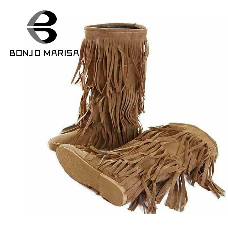 ФОТО Fashion Retro Style Mid-Calf Boots Leisure Style Shoes Tassel Round Toe Shoes 3 Colors Lady Shoes Winter Boots