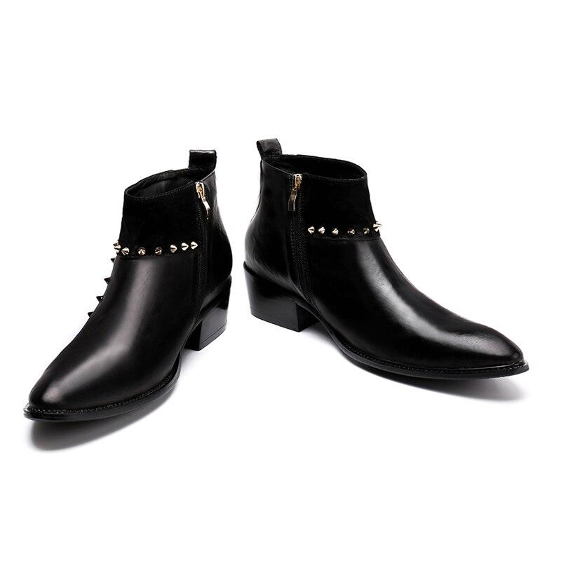 scarpe da uomo affari cuoio genuino a punta rock cantante