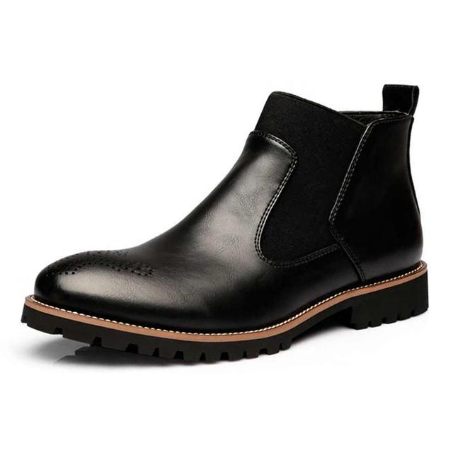ba5e9ae96395b4 Spring/Winter Fur Men Chelsea Boots British Style Fashion Ankle Boots Black/Brown/Red  Brogues Soft Leather Casual Shoes