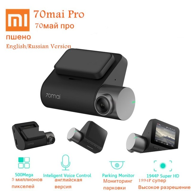 Xiaomi 70mai Smart Dash Cam Pro English/Russian Version 1944P HD Car DVR Camera140 Degree FOV Night Version Voice Control Defog