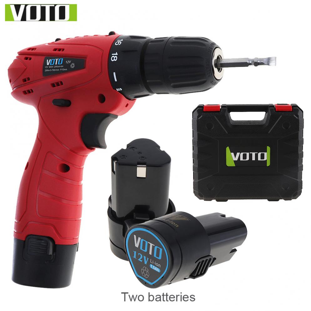 VOTO New AC 100 - 240V Cordless 12V Electric Screwdriver with 2 Lithium Batteries and Plastic Box for Handling Screws / PunchingVOTO New AC 100 - 240V Cordless 12V Electric Screwdriver with 2 Lithium Batteries and Plastic Box for Handling Screws / Punching