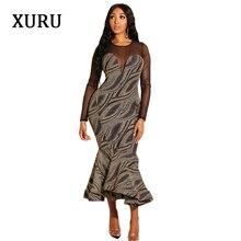 XURU2019 spring womens dress mesh gauze tuxedo sexy mermaid black elegant ladies