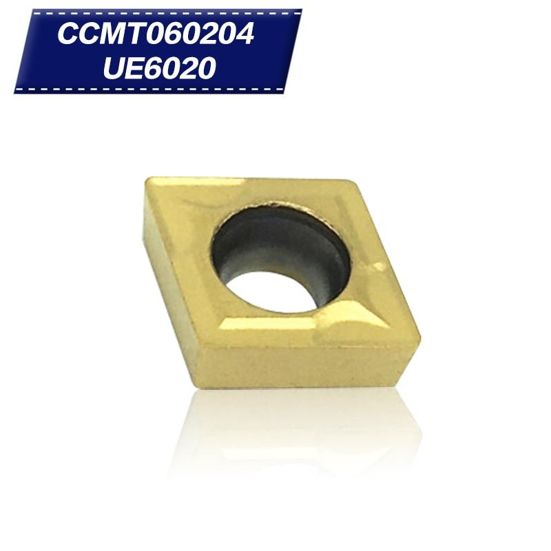 10Pcs CCMT060204 UE6020 Internal Turning Tools Carbide Inserts Cutting Tool CNC Tools Lathe Tools Lathe Cutter