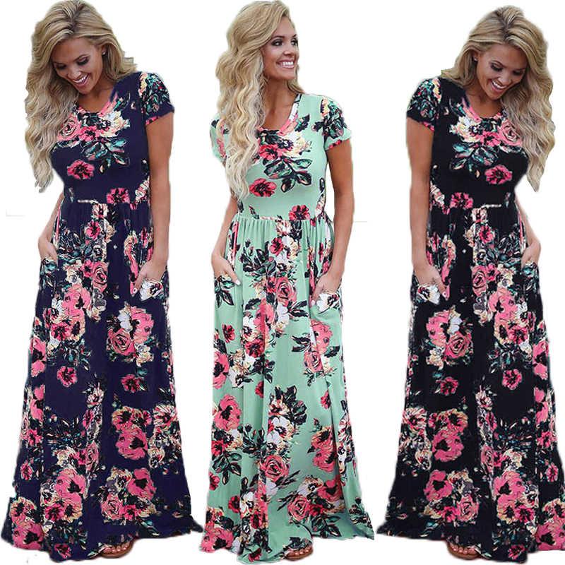 3176ef158066 Elegant Long dresses Women Dress Summer 2019 Beach Flower Boho Dress  Vintage Maxi Dress Short Sleeve
