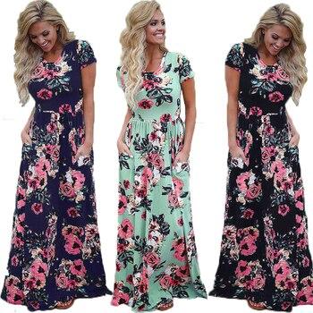 5011ffda7562146 Элегантное Цветочное платье женские длинные платья лето 2019 бохо платье  винтажное богемное макси Vestidos плюс размер Сарафан-халат женский 3XL