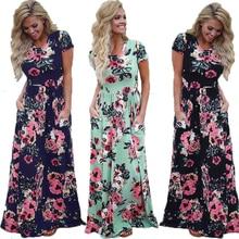 Элегантное Длинное Платье женское платье Лето 2019 пляжное цветочное бохо платье винтажное Макси платье с коротким рукавом плюс размер Сарафан женский