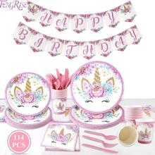 FENGRISE Unicorn Disposable Party Tableware Cups For Paper Plate Birthday Decoration Kids Supplies