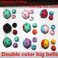 Factory Direct Sale Double Color Big Jingle Bells+2 Small Bell Key Ring Accessories Charming Flash Bright  Metal Bag Car Keyring