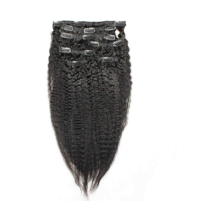 Kinky Straight Clip Dalam Sambungan Rambut Manusia 7 Keping / - Rambut manusia (untuk hitam) - Foto 1