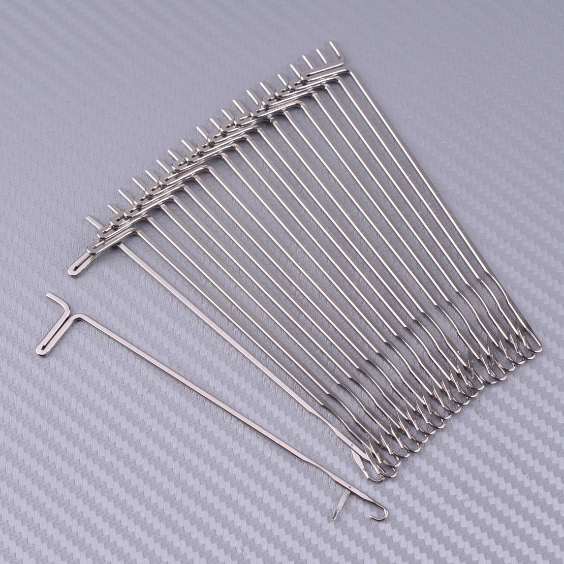 20Pcs/Set Silver Knitting Machine Hook Needles Fit For Reed Singer Studio Empisal Knitmaster LK150 LK360