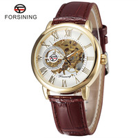 New Forsining 3d Logo Design Hollow Engraving Gold Case Brown Leather Skeleton Mechanical Watches Men Luxury