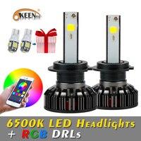 OKEEN RGB H4 H7 LED Car Headlight Bulbs APP Bluetooth Control H1 H3 H8 H11 HB3 HB4 COB Auto Headlamp Fog Ligh 12V 40W 6000LM