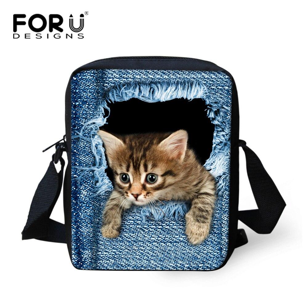 Brand Designer Women Messenger Bags Dog Cat Denim Print Girls Kids Cross  Body Bag Cute Pug fd4aa769fbdd6