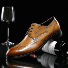 2019 Spring Handmade Men Genuine Leather Shoes Business Suits Oxfords Bullock British First Layer Men's Cow Leather Dress Shoes(China)