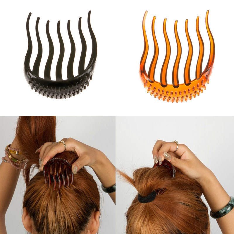 LNRRABC  Women Hair Styling Clip Fluffy Stick Bun Plastic Maker Braid Tool Ponytail Holder Hair Combs Hair Accessories