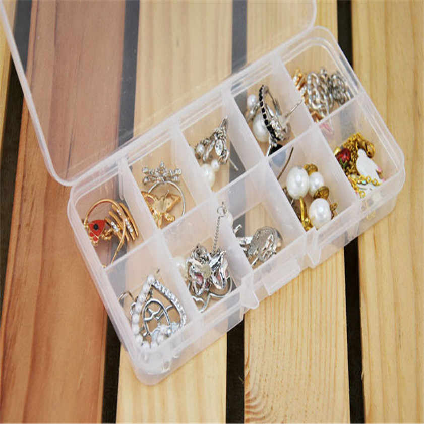 10 Grids Adjustable Jewelry Tool Box Beads Pills Organizer Nail Art Tip Storage Box Case hard transparent Plastic Dropshipping