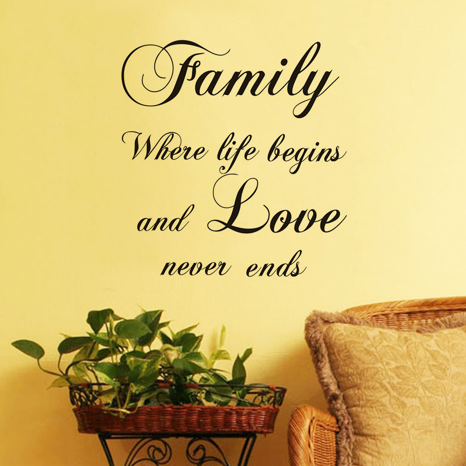 ᗛFamily Where Life Begins And Love Never Ends Wall Sticker Art ...