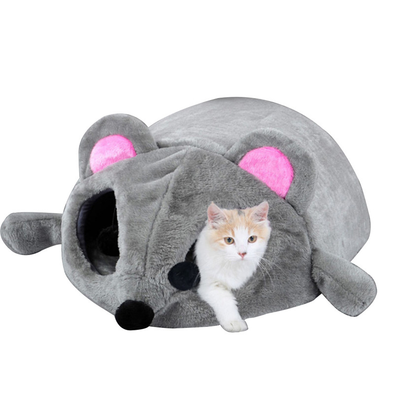 2019 New Gray Waterproof Mouse Form Bed Small Cats Dogs Cave Bed Removable Kisses Bottom Cat House Mouse For Cats House