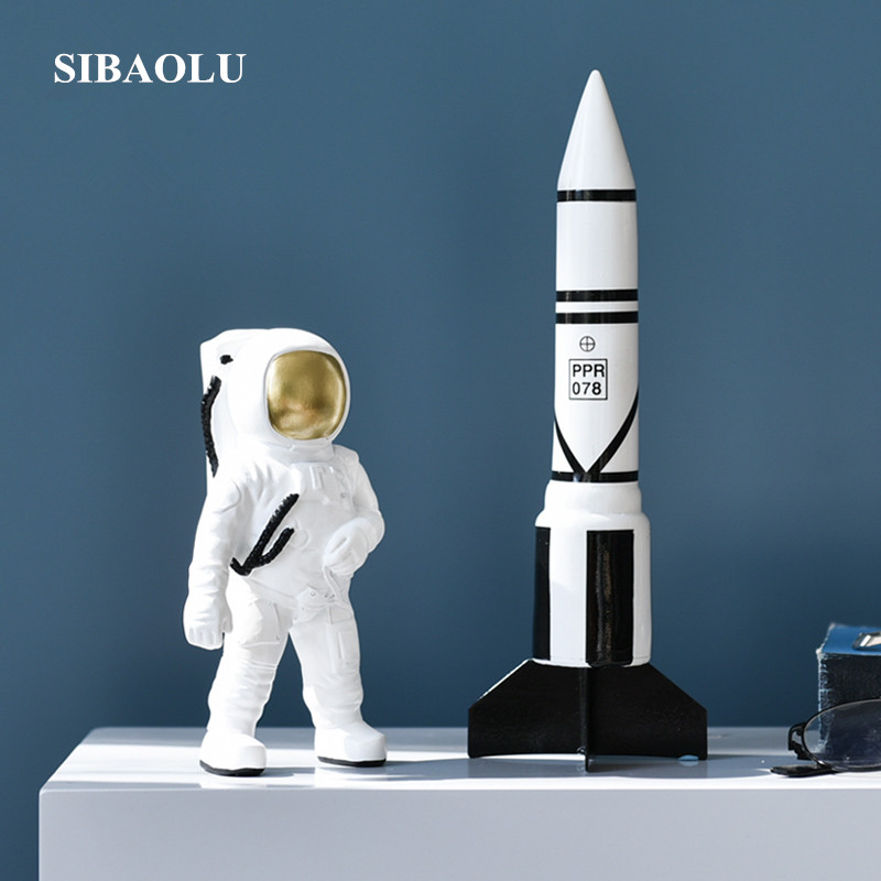 Original Modern Astronaut Figurine Resin Astronaut Rocket Figurine Home Decor Accessories Creative Space Man Astronaut Sculpture