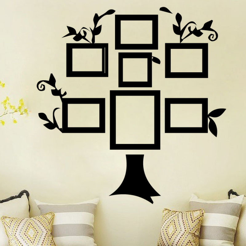 Dctop Simple Home Decor Diy Creative Wall Sticker Tree Photo Frame Vinyl Removable Self Adhesive Living