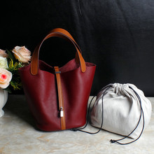 2017 Shopping Basket Soft Tote Bags Handbags Women Famous Brands Genuine Leather Panelled Hasp Lock Bucket Bag Bolsa Feminina