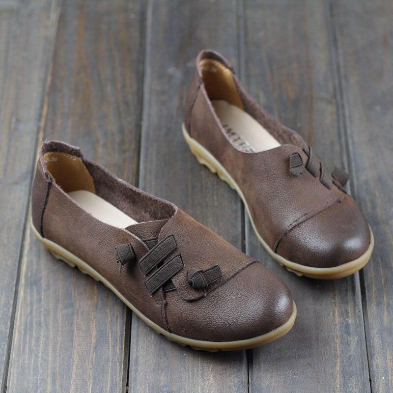 Femme Rond 188 Casual Plat Dames Bout Chaussures Mocassins Brown Sur En coffee Sliop 3 De Femmes Véritable Cuir rrAnx
