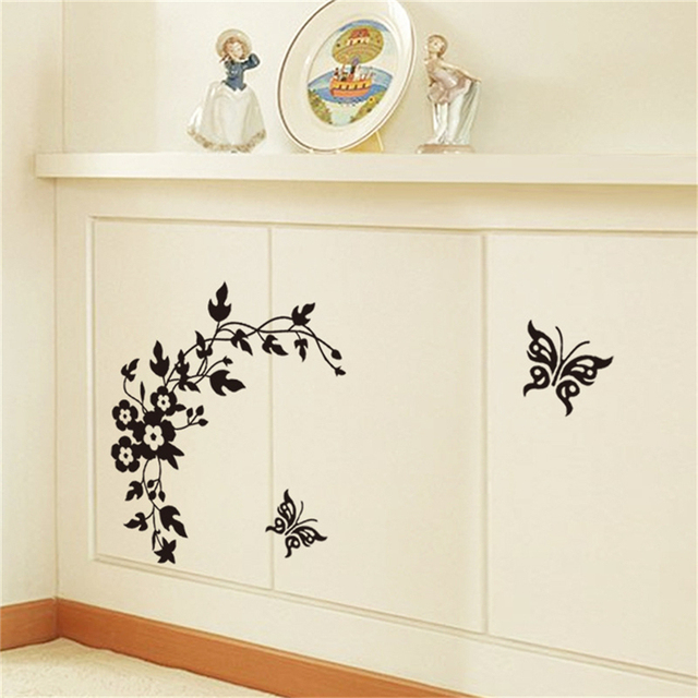 New 1pc Flower Vine Erfly Bathroom Wall Stickers For Toilet Decorative Sticker Home Decoration Decals