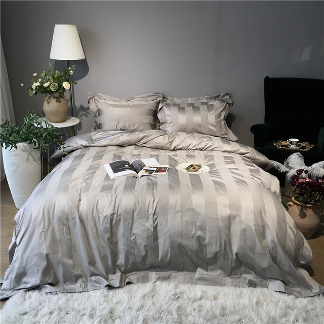 White Gray Luxury Hotel Bedding Set Queen King size Fitted sheet Bed sheet Duvet Cover Egyptian Cotton Silky Bed set Bedclothes