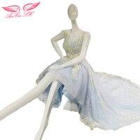 SH AnXin niebieski koronki wieczór sukni żółte kwiaty suknia wieczorowa, ogonków wieczorowe sukienka 100% Prawdziwe Zdjęcia 1