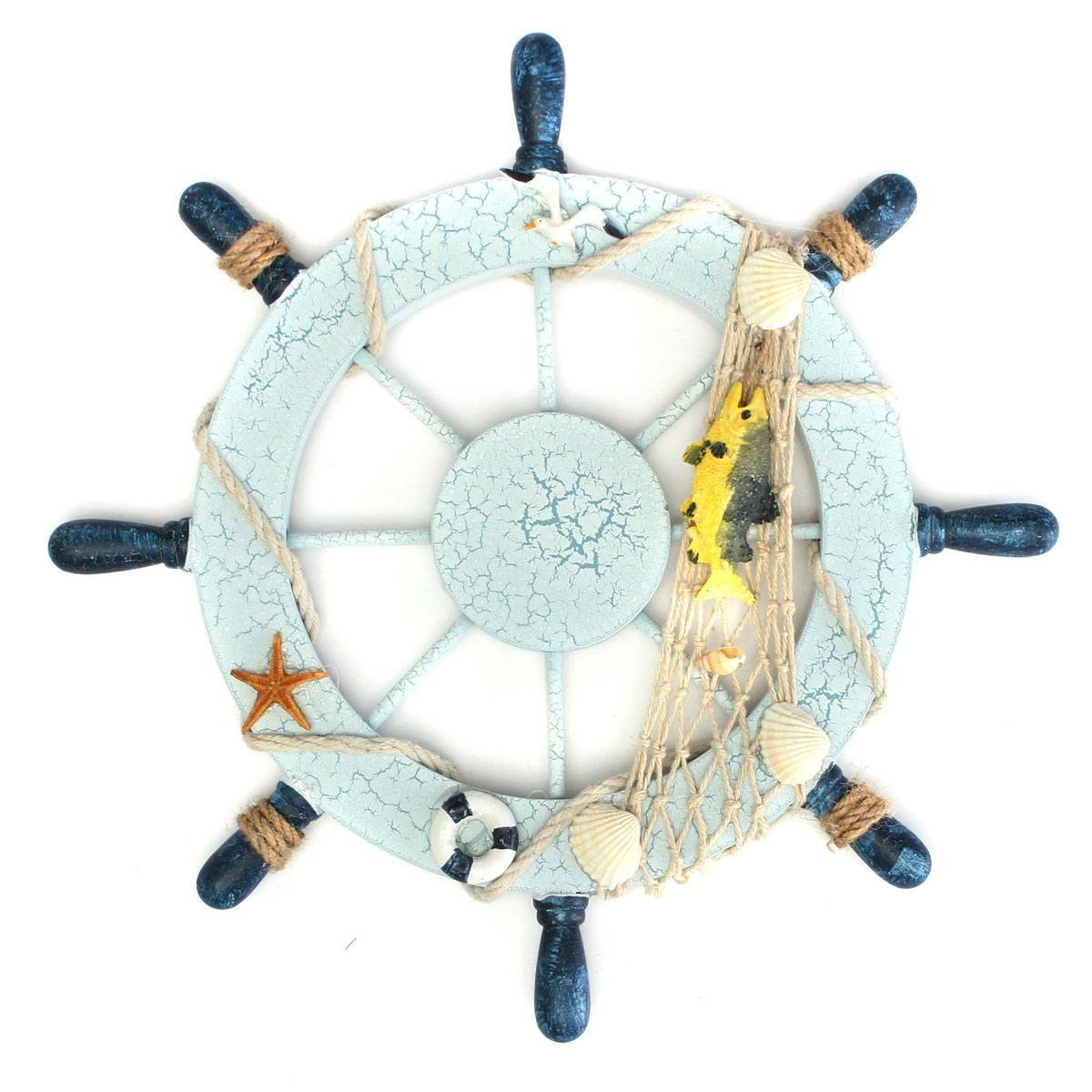 Us 9 62 46 Off Nautical Beach Wooden Boat Ship Steering Wheel Fishing Net Shell Home Wall Decor Fish In Figurines Miniatures From Home Garden