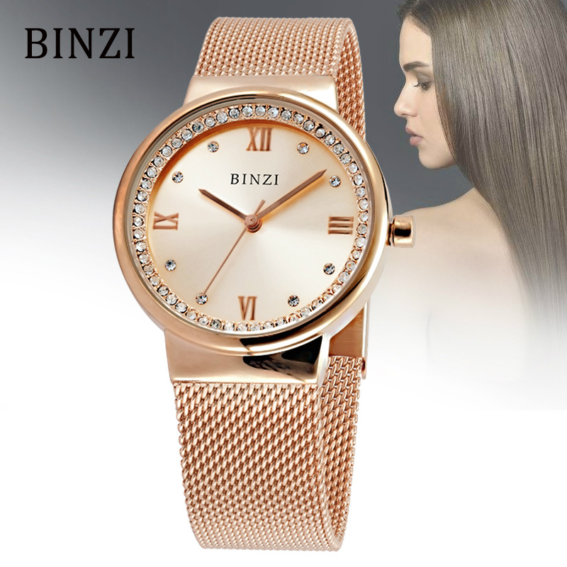 BINZI Brand Luxury Women Watch Business Rose Gold Women Watches Stainless Steel Ladies Quartz Watch Wristwatch Relogio Feminino watch women luxury brand lady crystal fashion rose gold quartz wrist watches female stainless steel wristwatch relogio feminino