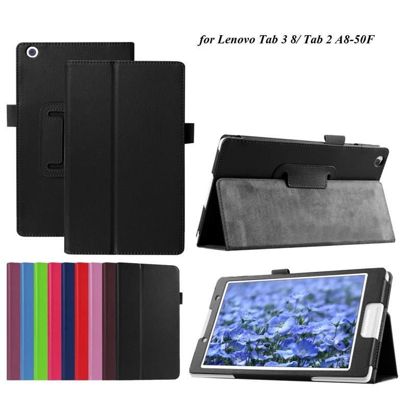 Prix pour 100 PCS/Lot Litchi Stand de Pliage PU Cas Pour Lenovo Tab 3 8/Tab 2 A8-50 Flip Cover Avec Pen Fente Par DHL