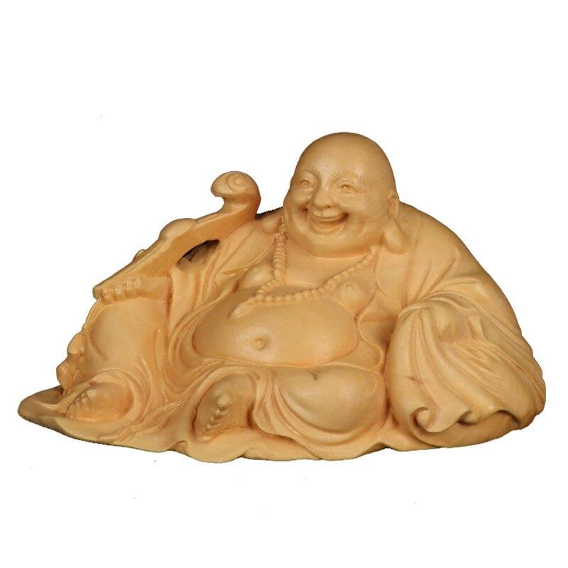 Sculpté Religion chanceux Maitreya Figurines or bouddha Statues pour la décoration bois sculpté décoration de la maison Art & collection R1584