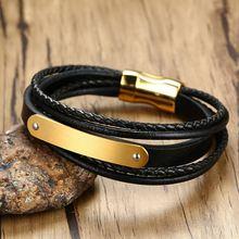 Мужской кожаный браслет черный из нержавеющей стали длина 21
