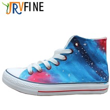 YJRVFINE Casual Flats Shoes Women's Blue Gradient Shoes Hand Made Shoes Women Galaxy Starry Sky Customizable Shoes R1054W