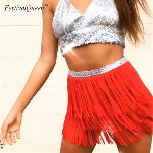 Image 4 - FestivalQueen jupe à franges pour femmes, écharpe de danse du ventre, Mini jupes pour Costume, ceinture tribale, ceinture ajustable