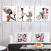 Современная мода девушка цветок мастер Art сайт Безрамное гостиная для девочек украшение дома стены картины на холсте Живопись