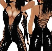 Hot koop kat Vrouwen Sexy Exotische kleding Kostuum Sexy Latex Catsuit Club Wear Jurk Mouwloos Turnpakje Womens Body Jumpsuit