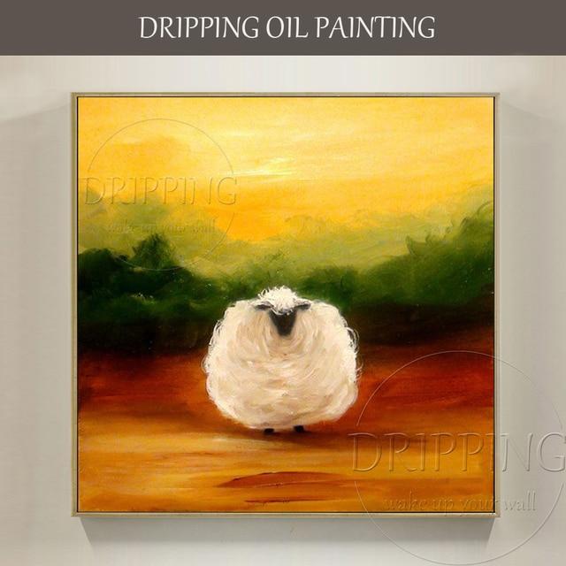 Peint À La Main De Haute Qualité Moderne Mur Art Animal Moutons