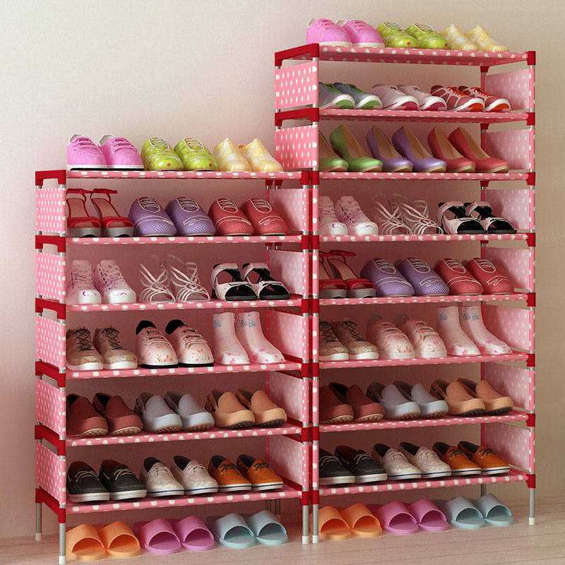 DIY Metal Shoes Rack Shelves Simple Folding Portable Shoe Storage Racks Multi-layers Small Shoe Rack Shoes Organizer Cabinet