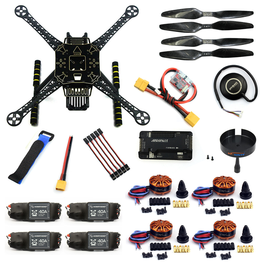 F19457-F DIY 4-Axle RC FPV Drone S600 Frame Kit with APM 2.8 Flight Control 40A ESC 700KV Motor GPS7M XT60 Plug Accessories f2s flight control with m8n gps t plug xt60 galvanometer for fpv rc fixed wing aircraft