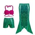 Girl Cosplay Mermaid Tail custome Baby girl kids Mermaid Tail fancy green Dress Swimmable Bikini Set Sexy Bathing Suit Christmas