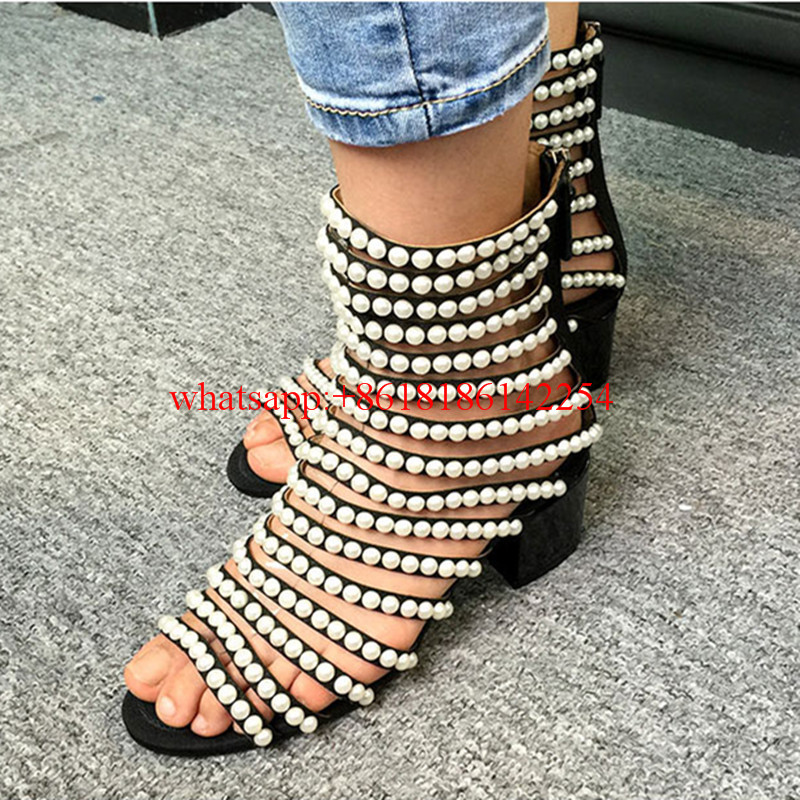 Fashion Week Open Toe Pearl Chain Sandals Roman Zipper High-top Sandal Boots Women Med-heeled Ankle Shoes Models T-walk Shoes