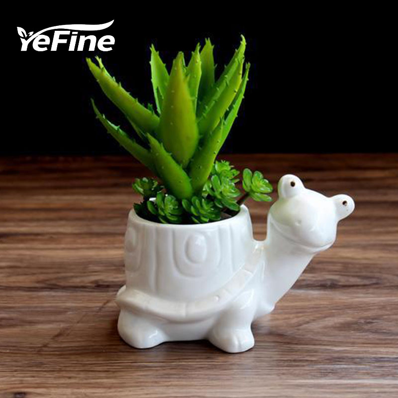 YeFine 만화 거북이 세라믹 다육 꽃 냄비 테이블 동물 - 가든 용품