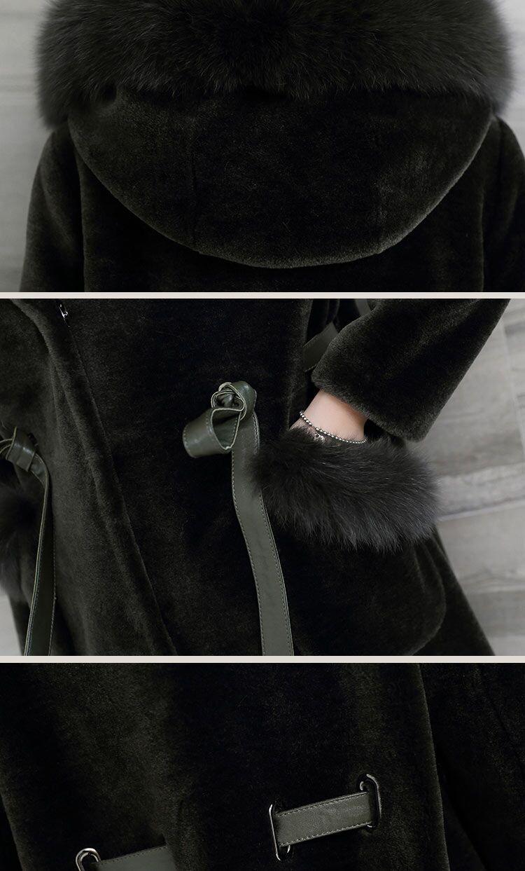 black Col Femmes Vêtements Véritable Européenne Khaki Tondus Jacket Hiver De Renard dk Chaud brown Veste Manteau Fur Peau Green Fourrure Mouton En U4vxqnwU