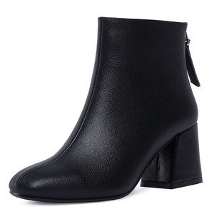 Image 4 - Genuine Leather Ankle Boots Women Hoof Heel Autumn Lady High Heels Shoes A263 Fashion Woman Black Beige Square Toe Zipper Boots