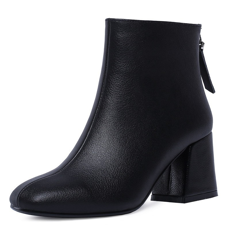 Hoof Heel Genuine Leather Ankle Boots Women Autumn Lady High Heels Shoes A263 Fashion Woman Black Beige Square Toe Zipper Boots