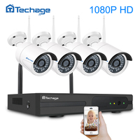 Techage 4CH 1080 P Беспроводной NVR видеонаблюдения системы 1080 2MP инфракрасный наружный водонепроницаемый Wi Fi IP камера P2P товары теле и комплект